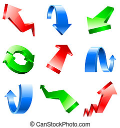 Three-dimensional arrows. - Set of nine red, blue, and green...