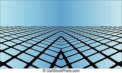 Three dimensional azure background - Illustration,...