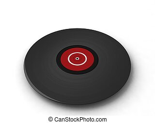 three dimensional black turntable with white background