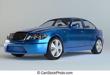 Three-Dimensional Blue Sedan Studio Shot. 3d rendering