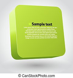 Three-dimensional green box on white. Clean vector illustration