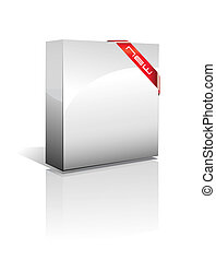 Three Dimensional Box with Shadow - 3D Box with reflection,...