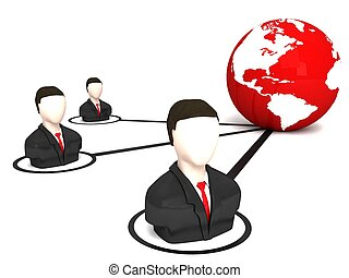 three dimensional business men and globe against white...