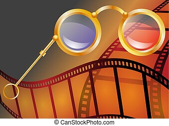 three-dimensional cinema. abstract background with 3d...