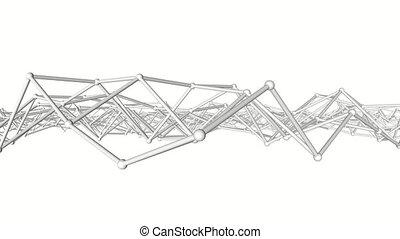 three-dimensional., deformable, abstrakt, rendering., weißes...