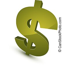 Three-dimensional dollar symbol, financial and banking theme vector icon. Money cash 3d sign.