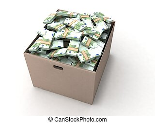 three dimensional euro bundles on cardboard with white...