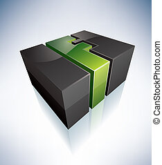 3D F green logo letter (part of the 3D Alphabet Icons Set) EPS v. 10