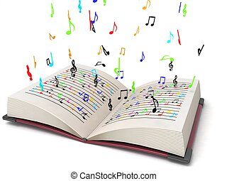 three dimensional flying musical notes from books