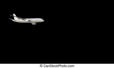 Three dimensional flying passenger plane on a black background HD