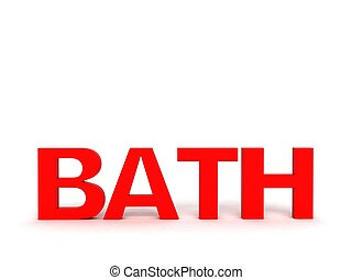 three dimensional front view of bath text