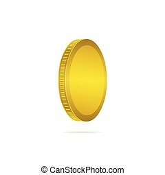Three dimensional gold coin on white background. Coin icon...