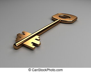 three dimensional gold key on an isolated background