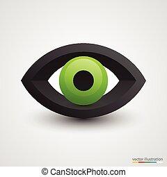 Three-dimensional green eye on white background