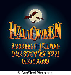 Three Dimensional Halloween Alphabet and Digit Vector