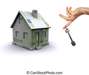 Three-dimensional house on a white background. The symbol of...