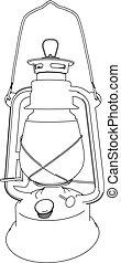 three-dimensional illustration of a kerosene lamp on the...