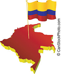 image map of Colombia - three-dimensional image map of...