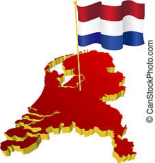 map of Netherlands - three-dimensional image map of...