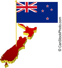 New Zealand with the national flag