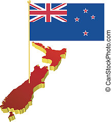 New Zealand with the national flag - three-dimensional image...