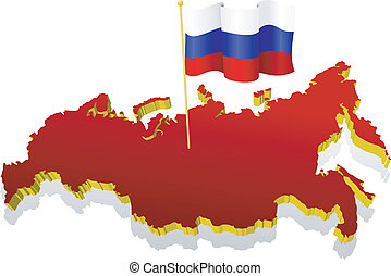 three-dimensional image map of Russia with the national flag