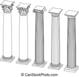 three-dimensional image of architectural columns with capitals