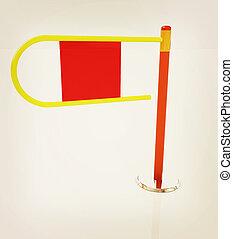 Three-dimensional image of the turnstile. 3D illustration. Vintage style.