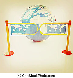 Three-dimensional image of the turnstile and earth on a white background. 3D illustration. Vintage style.