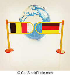Three-dimensional image of the turnstile and flags of Germany and Belgium. 3D illustration. Vintage style.