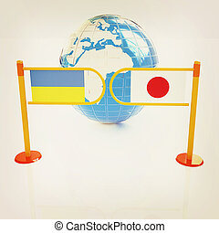 Three-dimensional image of the turnstile and flags of Japan and Ukraine. 3D illustration. Vintage style.