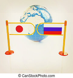 Three-dimensional image of the turnstile and flags of Japanese and Russia. 3D illustration. Vintage style.