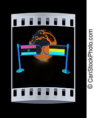 Three-dimensional image of the turnstile and flags of Russia and Iran. The film strip