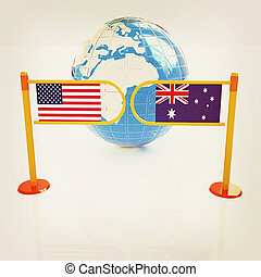 Three-dimensional image of the turnstile and flags of USA and Australia. 3D illustration. Vintage style.