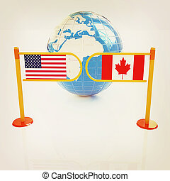 Three-dimensional image of the turnstile and flags of USA and Canada. 3D illustration. Vintage style.