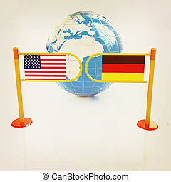 Three-dimensional image of the turnstile and flags of USA and Germany. 3D illustration. Vintage style.