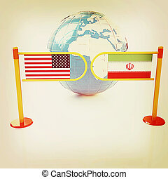 Three-dimensional image of the turnstile and flags of USA and Iran. 3D illustration. Vintage style.