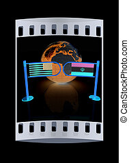 Three-dimensional image of the turnstile and flags of USA and Iran. The film strip