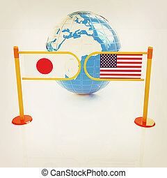 Three-dimensional image of the turnstile and flags of USA and Japan. 3D illustration. Vintage style.