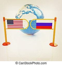 Three-dimensional image of the turnstile and flags of USA and Russia. 3D illustration. Vintage style.