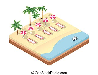 isometric seascape beach