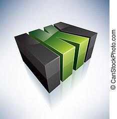 Three-dimensional K Letter