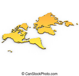 three-dimensional land in expanded form on a white background