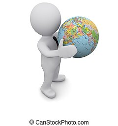 Three-dimensional man holding a globe of the Earth. Series...