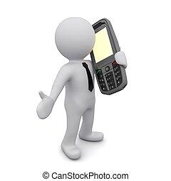 "Three-dimensional man holding a mobile phone. Series ""3D Man..."