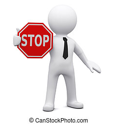 """Three-dimensional man holding a red """"STOP"""" sign"""