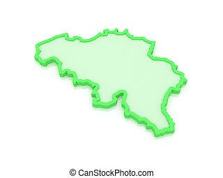 Three-dimensional map of Belgium. 3d