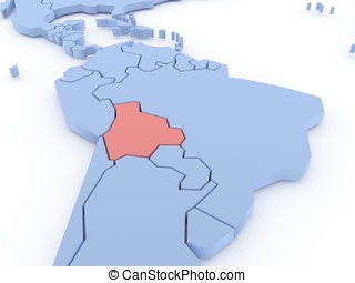 Three-dimensional map of Bolivia isolated. 3d