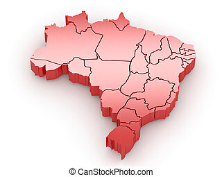 Three-dimensional map of Brazil on white isolated background. 3d