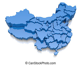 Three-dimensional map of China
